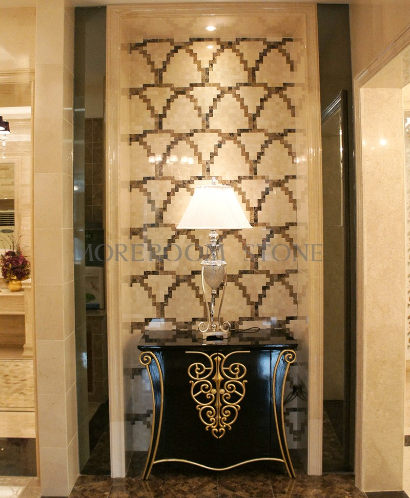 MPC0001-G01A Moreroom Stone Spanish Beige Marble Crema Marfil Black Stone Nero Marble Light Emperador Marble Mosaic Tiles Home Marble Flooring Mosaic Bathroom Design Mosaic Medallion Inlay Marble Tiles-2.jpg