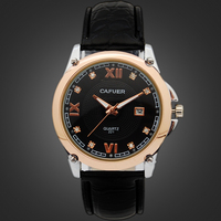 2 Colors Men Rose Gold Leather Watch Shop Men's Leather Band Watch Brands