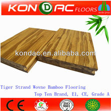 Pure green E1 grade solid brushed tiger stripe Strand woven bamboo flooring