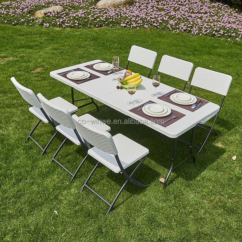 7pk preto ou branco rattan p tio mesa e cadeira dobr vel - Mesas de rattan ...