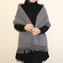 Classic Grey Rex Rabbit Fur Knitting Cape Shawl With Tassels European Style