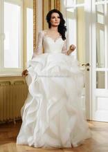 FMS10 High Quality Appliqued Balll Gown White Floor Length Wedding Dress Long Sleeve