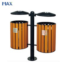 decorative wooden recycling trash cans for park