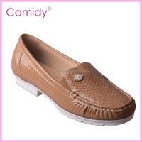 tan color china lady fashion shoe flat casual shoe
