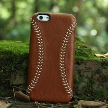 High Quality leather Mobile Phone Case for iPhone with handmade baseball stitching DHL free shipping