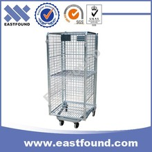 Supermarket Hand Push Foldable Steel Wire Roll Trolley
