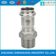 Stainless steel press fitting 304 male threaded adapter /reducer elbow V profile press fitting