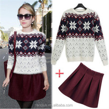 White Casual Knit Wear Sweater 2 Piece Set Women Long Sleeve Autumn Office Ladies Suits Clothing Sweater Pullover + Wool Skirt