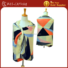 soft multicolor geometric pattern shawl scarf