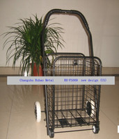 Factory direct folding wire mech shopping cart trolley with four wheels