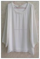 Simple long sleeve chiffon T-shirt white casual girl summer tshirt