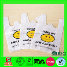 OEM printed pe tshirt carry wholesale happy bag