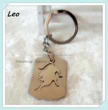 Fashion cheap wholesale stainless steel silver leo keychain zodiac signs