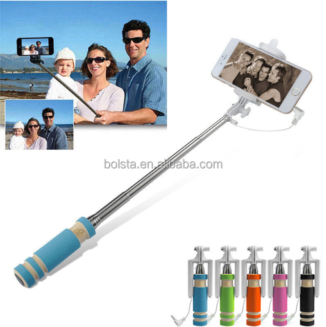 low price mini folding selfie stick wired monopod selfie stick for ipod tou. Black Bedroom Furniture Sets. Home Design Ideas