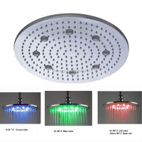 Hot sale size 16 inch 304 ss brushed rainfall color change led shower head round