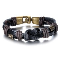 Bronze Alloy Buckle Men Leather Bracelet with Braided for Party