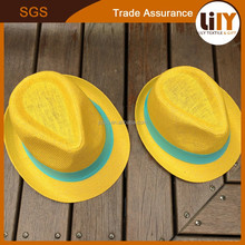 New summer 2015 fashion children wide brim yellow beach sun hat