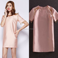Factory Wholesale 2015 Hot Sale Quality Mini Length Straight Style Loose Casual Short Sleeve Simple Dresses With Pendant