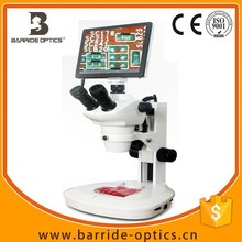 """(BM-600LCD) 9.7""""LCD Trinocular 5X-80XChina Supplie WF10x Eyepiece Upper and Lower LED lights Zoom Stereo Microscope with C-Mount"""