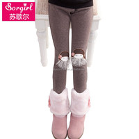 Simplicity Childrens Stylish Skinny Pants Plain Soft Cotton Little Girls Leggings with Lace Trim