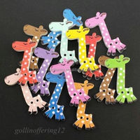 Wholesale 20Pcs Mixed Lovely 2 Holes pattern Wooden cartoons Giraffe Buttons Sewing Knitting Scrapbooking Clothing Accessories