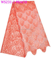 ws231-2 peach guipure lace dress with sequins / african chemical lace fabric