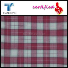 2015 latest design cotton yarn dyed check fabric in red white color