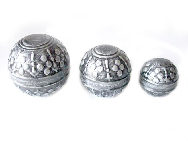 Silver decorative sphere and balls in shiny silver finish view silver