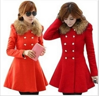 fall/winter women wool long coat warm red young ladies fashion coats