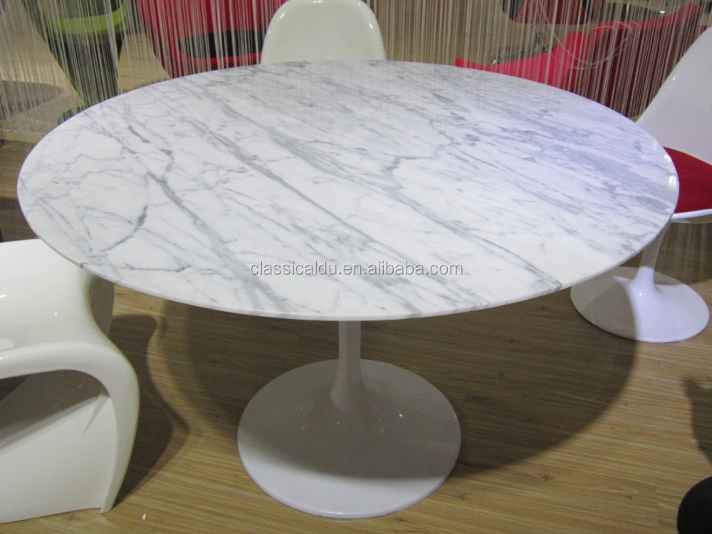 Round white marble top dining table stone top dining for Round stone top dining table