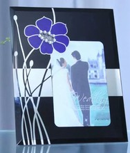 Floating glass photo frame / Wedding Anniversary glass photo frame / Curved glass photo frame