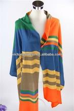 wholesale100% acrylic stripe fashion knitted shawls