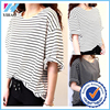Trade Assurance Yihao Fashion Latest Woman Girl Stripe Loose Lady O-neck Blouse Top 2015