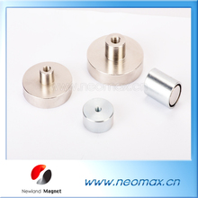 Customized all kinds of neodymium inner thread pot magnet with strong pull force for hot sale