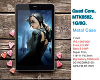 7 inch city call android phone tablet pc MTK6582 quad core IPS screen 5mp camera