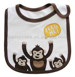 good price 3 cute monkeys printed bibs for baby