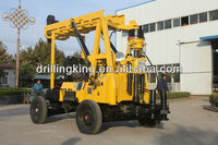Trailer mounted truck water well drilling rig