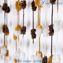 2015 Fashionable decorative string curtains with colorful fuzzy ball chain/modern/cheap string curtain
