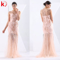 Hot sale Gorgeous Pink short sleeve transparent backless fashion beaded party sexy dress elegant young sex evening dress