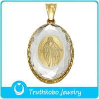 TKB-P0676 Antique Acrylic Jewelry Pendant Gold Photo Frame Catholic Religious Items Pendant for Saint Necklace
