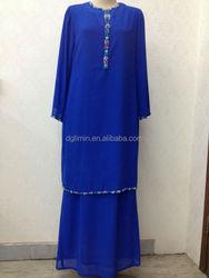 blue chiffon top and skirt lining baju kurung simple design beaded hem plain baju kurung
