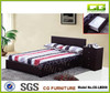 Brown color Fabric bed frame with drawer. home furniture drawer bed