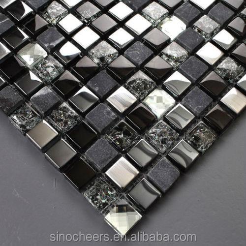 grauem stein schwarz glasmosaik silber fliesen f r. Black Bedroom Furniture Sets. Home Design Ideas