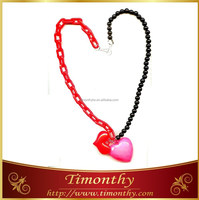 Popular heart charm colored plastic chain link necklace