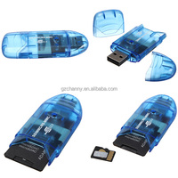 Blue USB2.0 Digital Mini Micro TF MMC For SDHC Up To 64GB Muti Memory Card Reader Writer Connector Adapter For Win 7 8 ME 2000