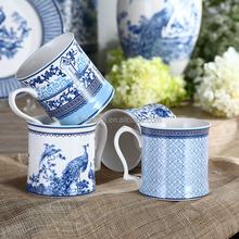 12OZ Elegant Style Blue and White Coffee Mug Gift set