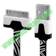 1m Zebra Pattern Noodle Flat USB 1m Zebra Pattern for iPhone 4 & 4S, iPhone , New iPad / iPad 2 / iPad, iPod(Black)