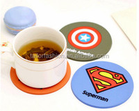 TF-G03151022003 Creative cartoon hero alliance silicone insulated pad Superman, batman fashion round coasters Cup mat eat mat