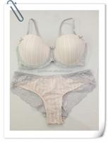 white & pink stripe T-shirt bra woman underwear