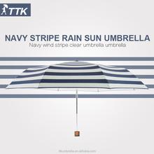 Navy marinero de rayas setenta por ciento pegamento ultravioleta a prueba de viento de doble paraguas con la lluvia